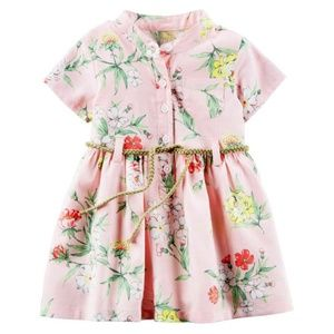 Carter's Pink Floral Cotton Shirt Dress + Bloomers
